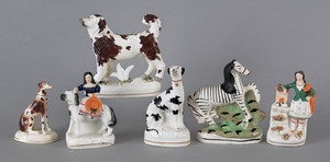 Six Staffordshire figures, 19th c., to include hou