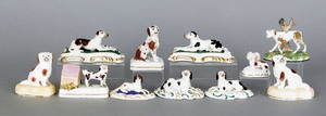 Collection of eleven Staffordshire and porcelain d
