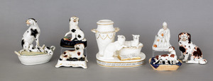 Collection of seven Staffordshire and porcelain, d