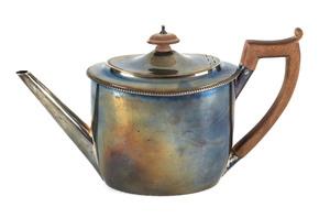English silver teapot, 1798-1799, bearing the touc
