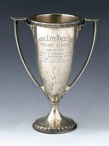 Gorham sterling silver horse racing trophy, inscri