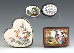 Four enamel dresser boxes, 19th c., to include two