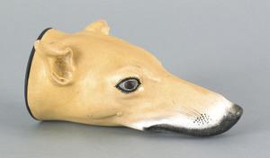 Large Staffordshire hound-head stirrup cup, 7