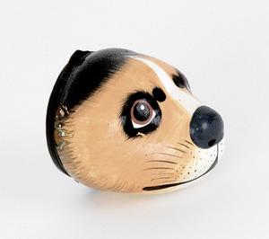 Battersea hound-head snuff box, 1 3/4