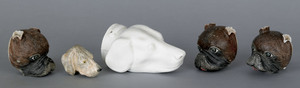 White ironstone hound-head stirrup cup, together w