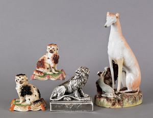 Staffordshire greyhound, 19th c., together with aa