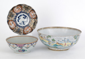 Chinese export porcelain hunt bowl, 18th c., 4 3/4