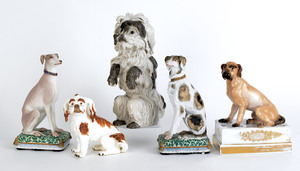 Five Continental porcelain dogs, late 19th/early 2