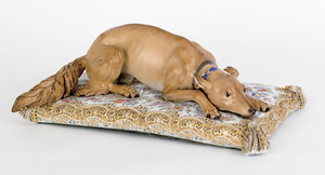 Large Meissen porcelain figure of a hound, 19th c.