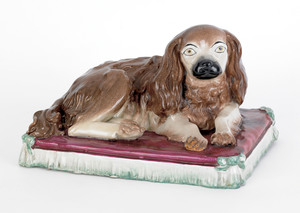 Large Staffordshire figure of a King Charles spani