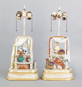 Pair of French porcelain table lamps, after the wo