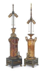Two French tole peinte water urn table lamps, 19th