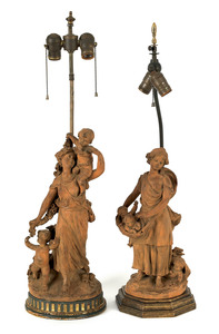 Pair of French terra cotta figural table lamps, la