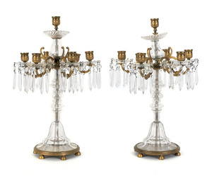 Pair of French brass and crystal candelabra, early