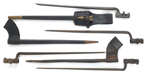 Three socket bayonets, with scabbards and frogs, t