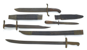 Two knives, together with a bayonet, longest blade