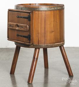 Pine churn end table, 19th c.