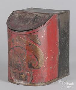 Painted tin tea bin, 19th c.
