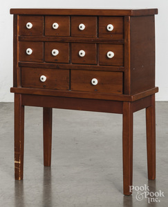 Pine spice cabinet on stand, late 19th c.