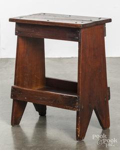 Primitive pine end table, 19th c.