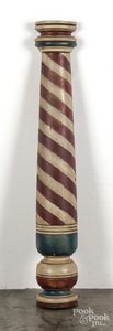 Painted half round barber pole, mid 20th c.