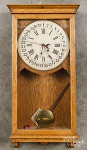 Seth Thomas oak wall clock.