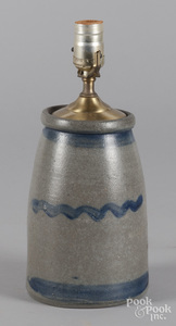 Western Pennsylvania stoneware table lamp, 19th c.