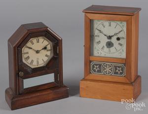 Two pine mantel clocks