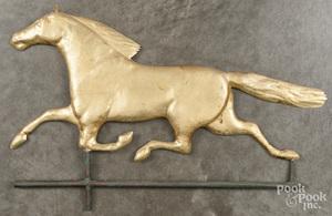Copper running horse half section weathervane.