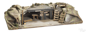 Large German painted composition and wood command trench