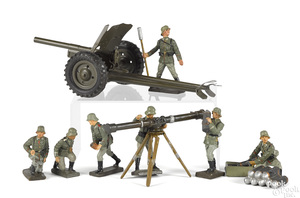 Lineol painted tin and composition field gun soldiers