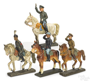 Lineol painted composition personality mounted soldiers