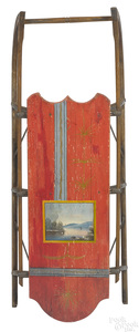 Child's painted wood sled, 19th c.