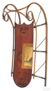 Child's painted wood sled