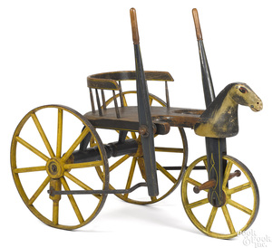 Hand propelled carved and painted horse velocipede, ca. 1870