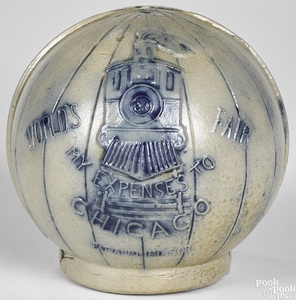 1893 World's Fair stoneware still bank