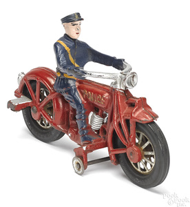 Scarce Globe Mfg. Co. cast iron police motorcycle
