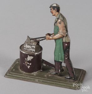 Bing painted tin blacksmith steam toy accessory