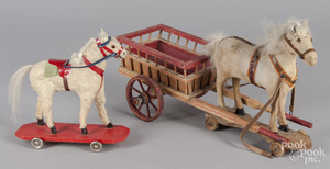 Wood and cloth horse drawn painted cart pull toy