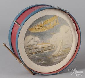 Child's painted tin drum