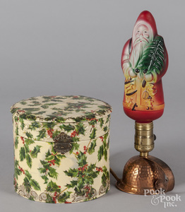 Holly decorated celluloid Christmas collar box