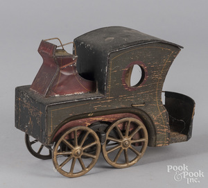 Painted wood and tin hillclimber hansom cab