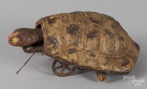 Painted composition clockwork walking turtle