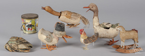 Three pressed cardboard duck candy containers