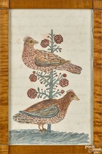 PA watercolor fraktur drawing of two birds