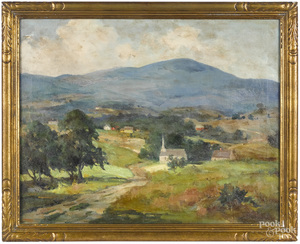 Marianna Sloan oil on canvas of a church
