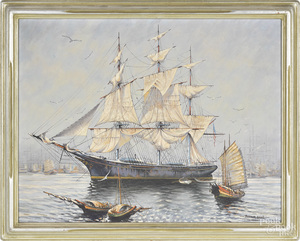 Arthur Small, oil on canvas of a ship