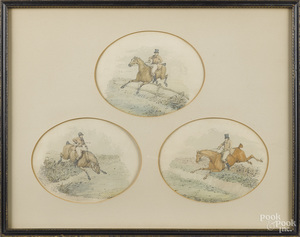 Henry Alken, three fox hunting scenes