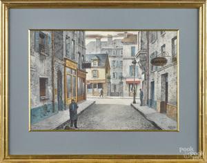 Henry Gasser watercolor street scene