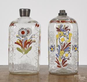 Two Stiegel type enamel decorated bottles